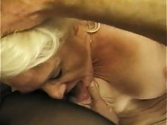 Hairy dude eats out a still sexy blonde granny