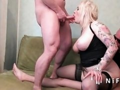 Amateur french emo BBW hard sodomized in threesome