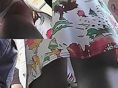 Hotty in flowered suit white upskirt